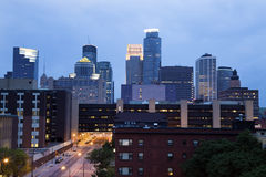 blå afton minneapolis Royaltyfria Bilder