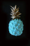 Blå ananas med bladguld på svart bakgrund Royaltyfri Foto