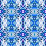 Blå autentisk sömlös geometritappningmodell royaltyfri illustrationer