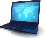 blå bärbar datoröversiktsvärld vektor illustrationer