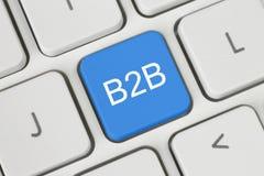Blå B2B (affär till affären) knapp Royaltyfri Foto