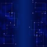 Blå bakgrund för abstrakta teknologianslutningar Arkivfoto