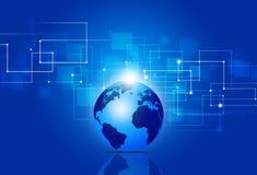 Blå bakgrund för affärsteknologianslutningar Arkivbilder
