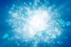Blå bakgrund för bokehabstrakt begreppljus Royaltyfri Fotografi