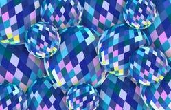 Blå bakgrund för kristallkulor 3d Abstrakt illustration för exponeringsglassfärer royaltyfri illustrationer