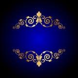 Blå bakgrund för lyx med blom- garnering stock illustrationer