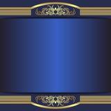Blå bakgrund för lyx med eleganta guld- gränser och ställe för text royaltyfri illustrationer