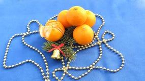 Blå bakgrund för nytt år och jul från mandarinen och att dekorera Royaltyfria Foton