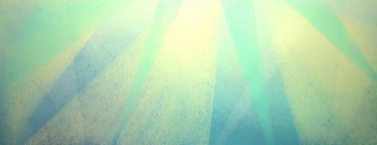 Blå bakgrund för tappning med bekymrat ljus - guling och gräsplanband och trianglar vektor illustrationer
