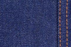 Blå bakgrund för textur för tyg för bomullsgrov bomullstvilljeans, slut upp Royaltyfria Bilder