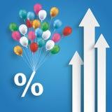 Blå bakgrund för tre vita pilprocentballonger Royaltyfria Bilder