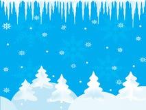 Blå bakgrund för vinter med snöflingor och istappar Royaltyfri Foto