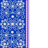 Blå bakgrund med blommor av pärlor och stället för text Fotografering för Bildbyråer