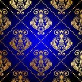 Blå bakgrund med den lyxiga guld- prydnaden vektor illustrationer