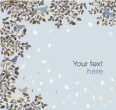 Blå bakgrund med fåglar och filialer stock illustrationer