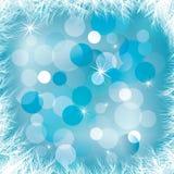Blå bakgrund med frost för vinterberöm royaltyfri illustrationer