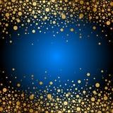 Blå bakgrund med guld mousserar vektor illustrationer