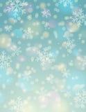 Blå bakgrund med snöflingan och bokeh, vektor royaltyfri illustrationer