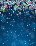 Blå bakgrund med snöflingor, vektorillustrati Royaltyfri Foto