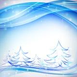 Blå bakgrund med snowflakes Arkivfoton