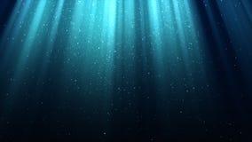 Blå bakgrund med strålar av ljus, gudomlig strålglans, mousserar, glänsande himmel för natten, sömlös ögla arkivfilmer