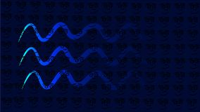 Blå bakgrund med vågor eller linje som ormen - vektorillustration royaltyfri illustrationer