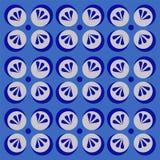 Blå bakgrund som dekoreras med blom- frostig prydnadsammansättning vektor illustrationer