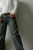 blå bekväm jeans Arkivbild