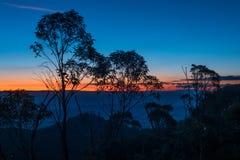 Blå bergsolnedgång, New South Wales, Australien Arkivbilder