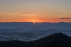 Blå bergsolnedgång, New South Wales, Australien Royaltyfria Foton