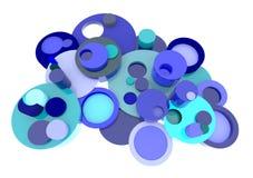 Blå beståndsdelbeståndsdel för cirkel 3D i abstrakt stil med den TOMMA brunnsorten Arkivfoton