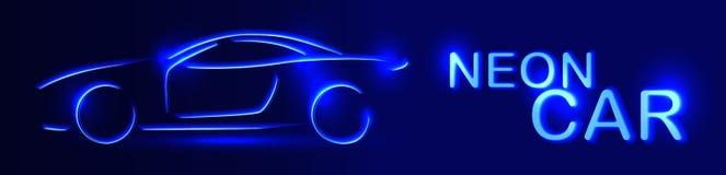 Blå bil för neon rengöringsduk för jordklotlogovektor Linjär auto illustration på en svart Arkivfoto