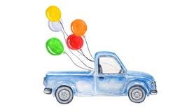 Blå bil för vattenfärg med bollar royaltyfri illustrationer