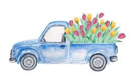 Blå bil för vattenfärg med tulpan royaltyfri illustrationer