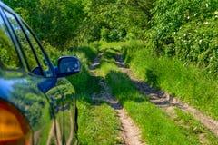Blå bil i skog Arkivfoto