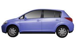 blå bil isolerad metallisk white Arkivbild