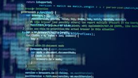 Blå bildskärm med en kod stock video