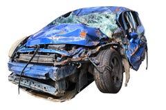 Blå bilhaveri som har lidit viktig skada royaltyfri bild