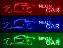 Blå bilUPPSÄTTNING för neon rengöringsduk för jordklotlogovektor Linjär auto illustration på en bl Arkivbild