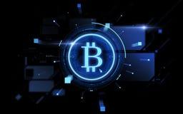 Blå bitcoinprojektion över svart bakgrund Arkivfoton