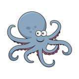Blå bläckfisk med krökta tentakel Arkivfoton