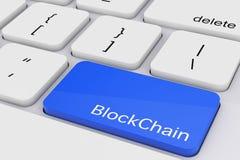 Blå Blockchain tangent på det vita PCtangentbordet framförande 3d Arkivfoton