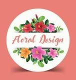 blå blom- hälsning för kortdesign Arkivbild