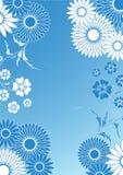 blå blom- ornement Fotografering för Bildbyråer