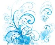 blå blom- prydnad royaltyfri illustrationer