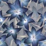 Blå blom- sömlös modell för fantasi lilly royaltyfri illustrationer
