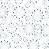 Blå blom- sömlös modell på vit royaltyfri illustrationer