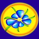 Blå blomma på en platta royaltyfri illustrationer
