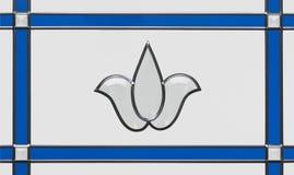 Blå blyad glass dörrpanel Arkivbild