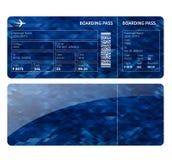 Blå boardingcard Fotografering för Bildbyråer